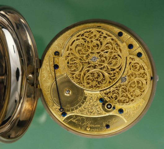 The clockwork in John Harrison's H4. Photo from Royal Museums Greenwich.